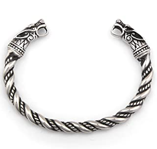 Handcrafted Wolf Heads Bangle ♦ Adjustable ♦ Stainless Steel ♦ Norse Scandinavian Bracelet ♦ Authentic Viking Jewelry