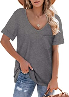 Womens Shirts Short Sleeve V Neck Oversized Summer Tops...