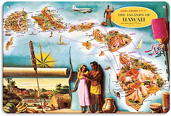 Bruyu5se Aluminum Sign Metal Sign 7 X 10 Vintage Tin Sign Aloha Airlines Route Map Of The Hawaiian Islands Retro Sign