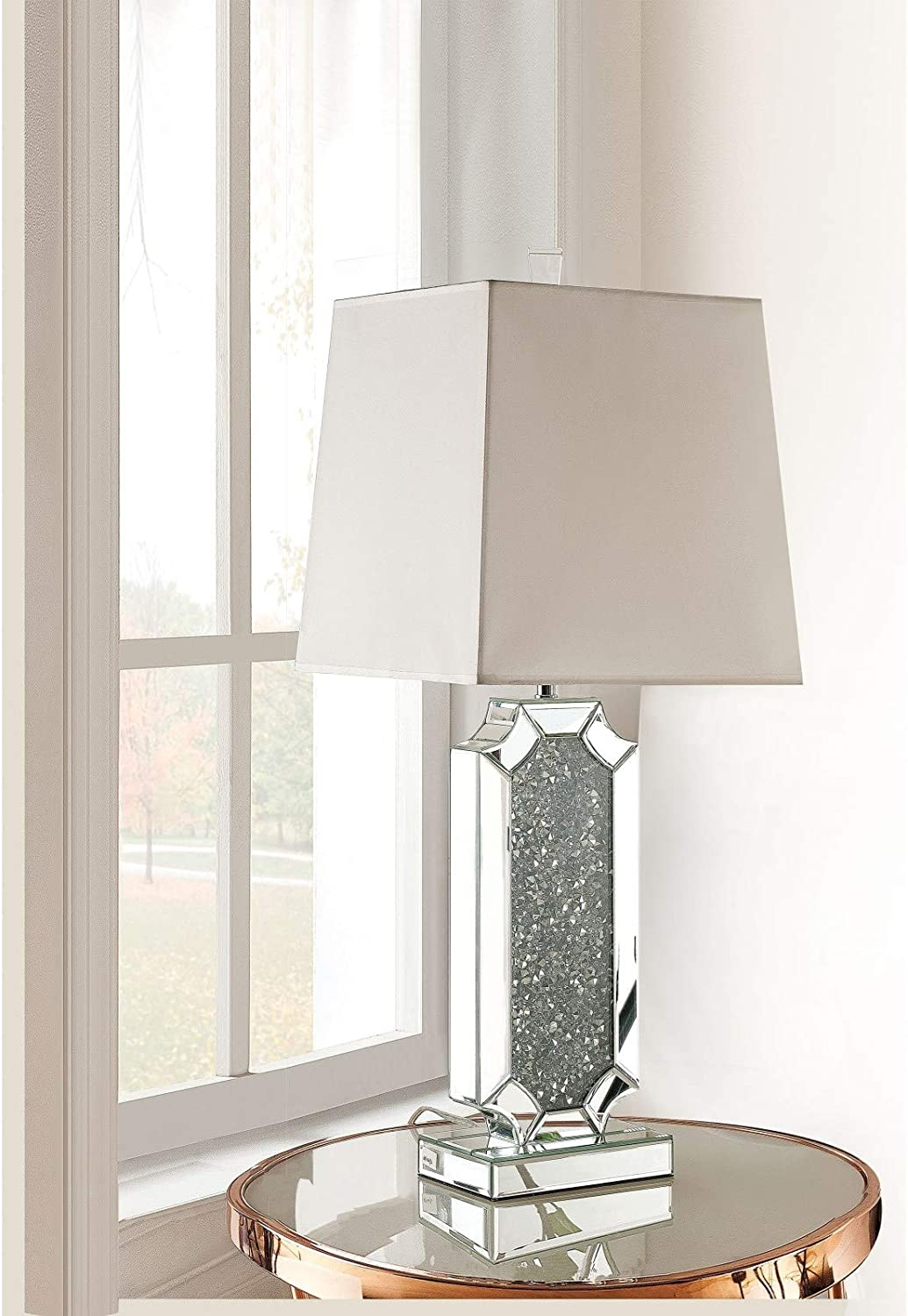 Takefuns Noralie Max 76% OFF Table Lamp in I 40216 Mirrored Diamonds Ranking TOP5 Faux