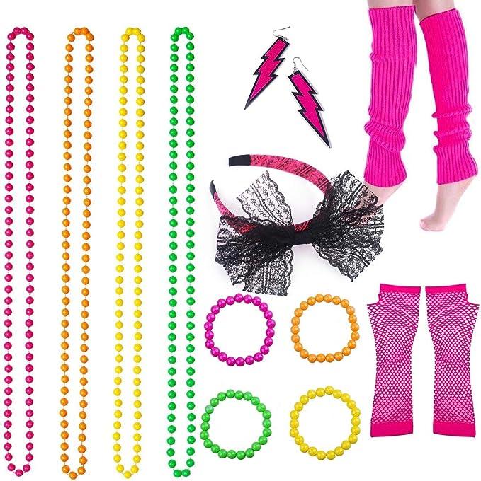 80s Costumes, 80s Clothing Ideas- Girls BRT Bearingshui 80s Fancy Dress Accessories Neon Necklace Bracelet Earrings Fishnet Gloves Leg Warmers Headband  AT vintagedancer.com