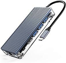 ORICO Hub USB C, 11 en 1 Adaptador con HDMI 4K, 1080P VGA, RJ45 Gigabit Ethernet, lectores de tarjetas SD / TF, Audio, 100...