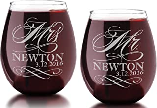 Set of Two Custom MR and MRS with Last Name Date Stemless Wine Glass 21 Oz Classy Wedding Bride Groom Future Married Coupl...