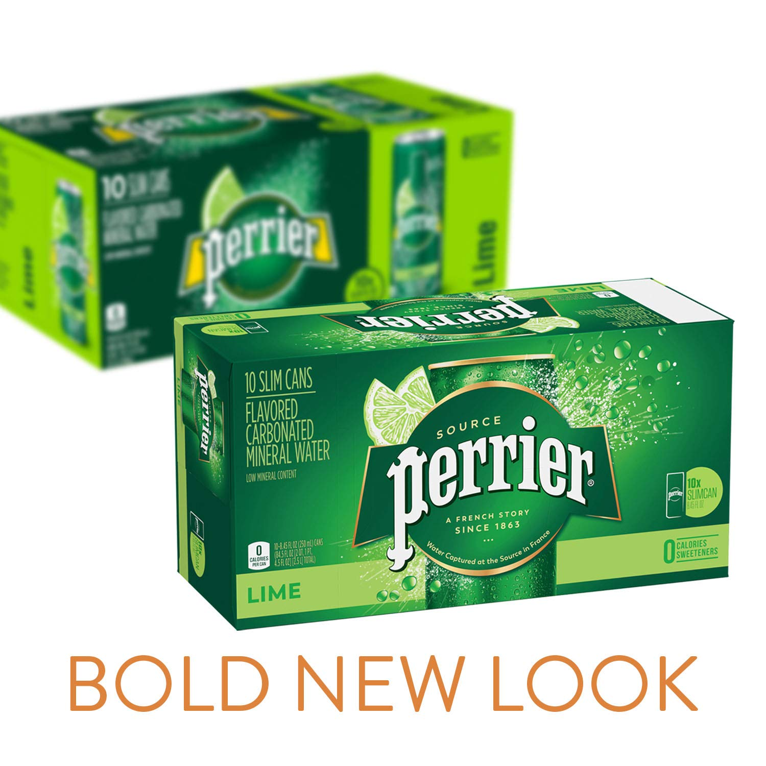 Perrier Lime Flavored Carbonated Mineral Water, 8.45 fl oz. Slim Cans (pack of 10)