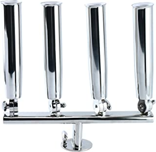 DasMarine Adjustable 4 Tube Fishing Rod Holder On Track Mount, Stainless Steel 316, Heavy Duty Horizontal Multi-Position Four Pedestal Rod Holders with Mounting Screws