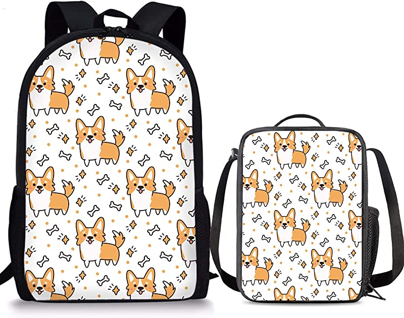 PrelerDIY Cute Corgi Backpack Set 2 Piece Lunch Box 17 Inch Book Bag Kids Lunch Bag For Boys Girls Back To School