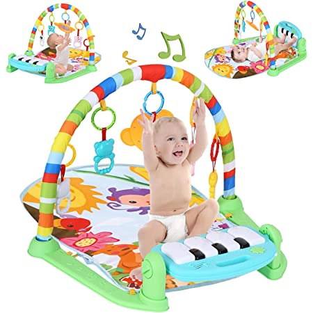 Activity Play Mat & Baby Gym Toys, Kick and Play Piano Gym Center with Music and Lights, Electronic Learning Toys for Infants,Girls and Boys Ages 0-3-12 Months