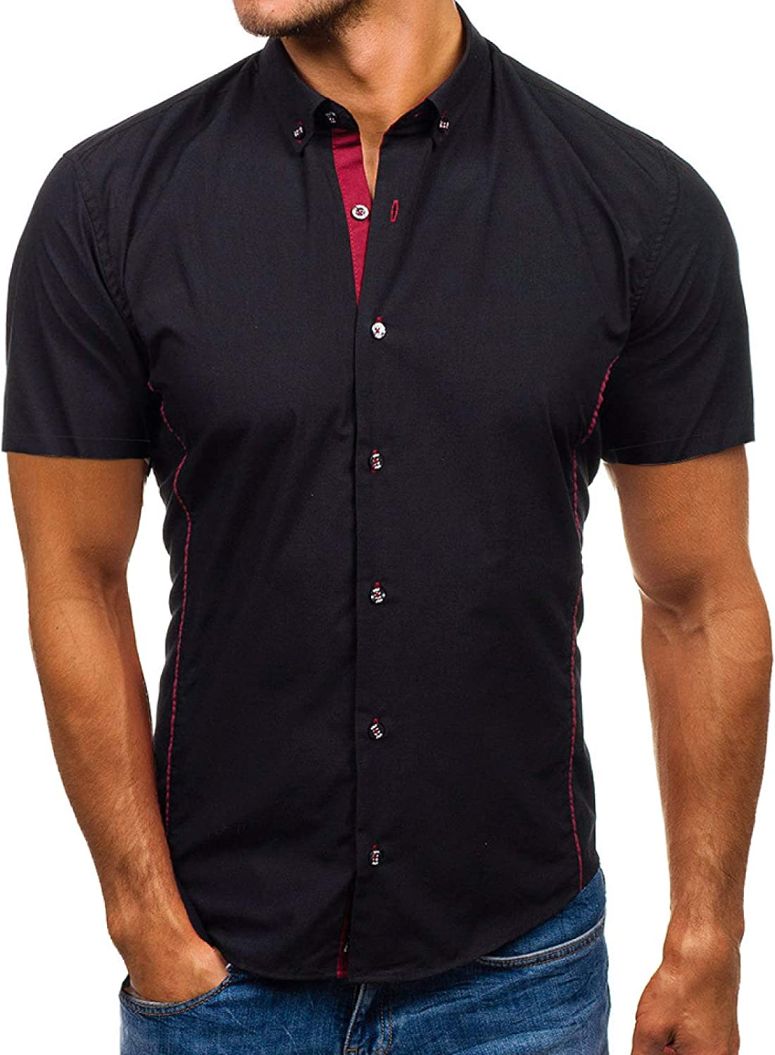 Indianapolis Mall Luandge Men's Short-Sleeved Shirts Stitching Patchwo Personality New item
