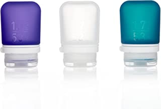 humangear Gotoob+ Silicone Travel Bottle with Locking Cap, 3-Pack, Small (1.7oz), Clear/Purple/Teal
