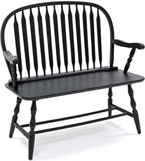 Carolina Chair & Table  Colonial Windsor Bench, Antique Black