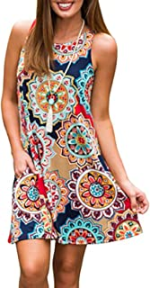 Women's Summer Sleeveless Bohemian Print Tunic Swing Loose Pockets T-Shirt Dress