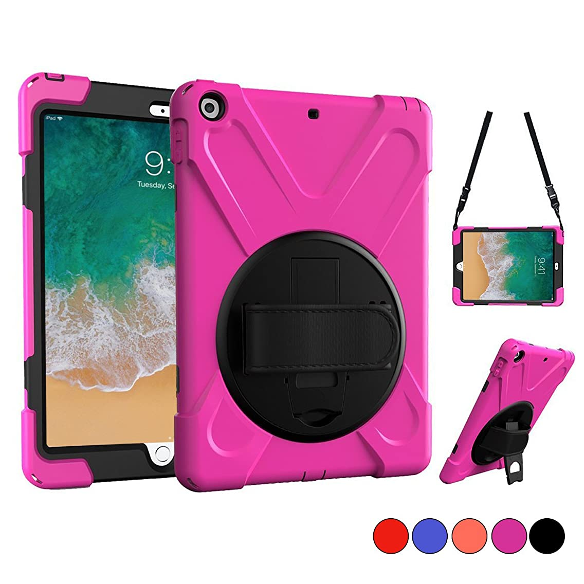 New iPad 9.7 2018 2017 Case, iPad 5th 6th Gen Case, Protective Case with Shoulder Strap, Hand Grip & 360 Rotating Stand, Heavy Duty Apple Tablet Cover for Kids 9.7 Inch A1822 A1823 A1893 A1954 (Pink)