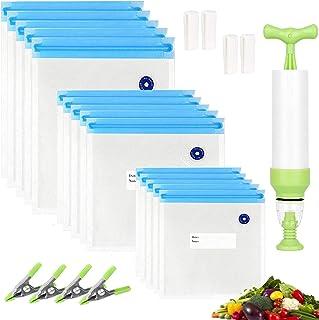 Sacs Sous Vide Alimentaires Kit, Micacorn 15pcs Reusable Vacuum Bags(3 tailles) avec Pompe Manuelle, 4 Pinces D'étanchéité...