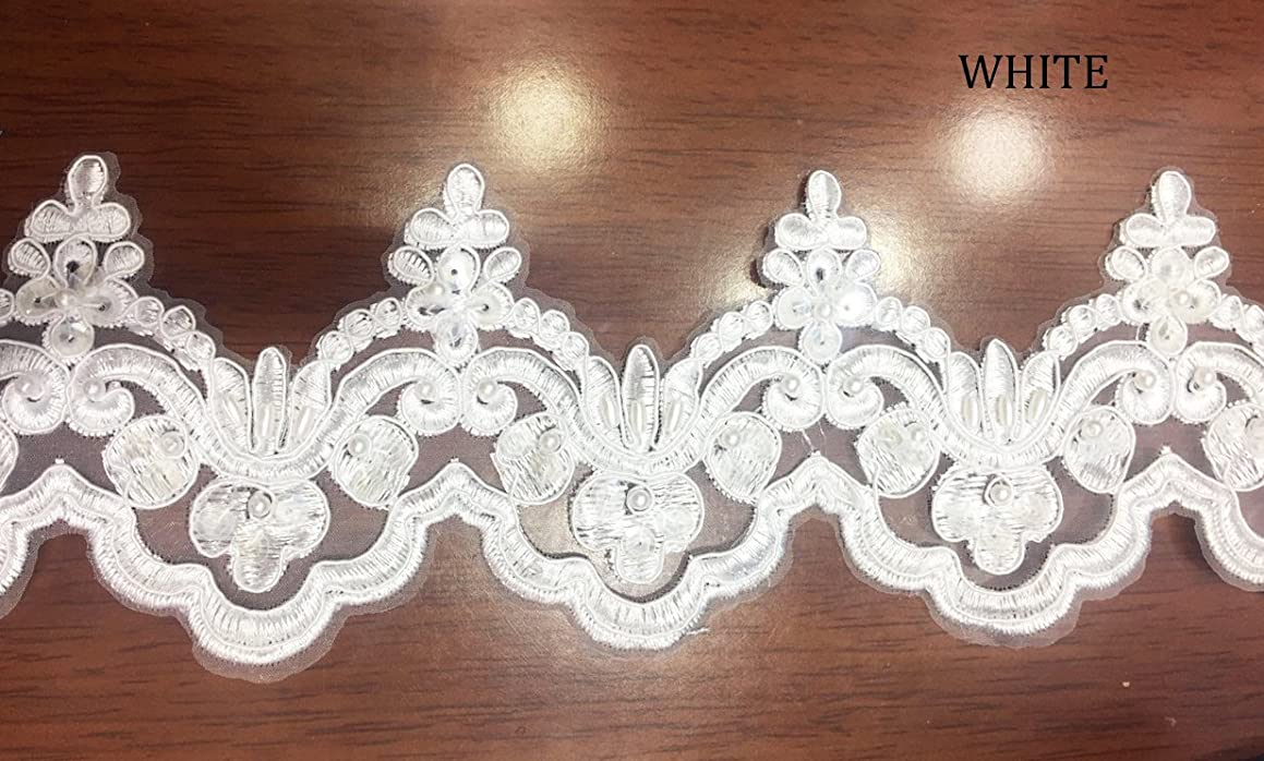 Beaded Lace Trim Sequinned Ribbon Vintage Decorative Wedding/Bridal DIY Craft Sewing Coloured Fabric (White, 5 Yards)