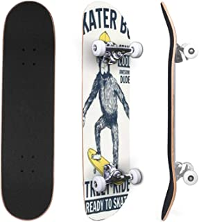 Classic Concave Skateboard Cute little skater rabbit with a bandage on his head doing a Canadian Maple Trick Skateboards f...
