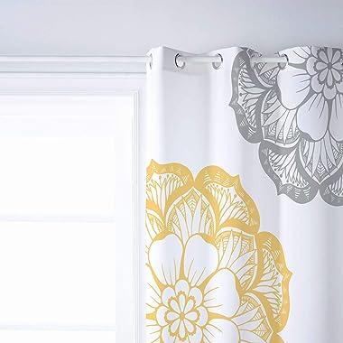 Possta Decor Blackout Window Curtain Dahlia Sketch Flower, Thermal Insulated Window Drapes Grey Yellow and White Room Darkeni