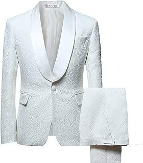 YFFUSHI Men's 2 Piece Suits White Tuxedo 1 Button Shawl Collar Party Dinner Suit