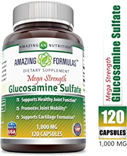 Amazing Formulas Glucosamine Sulfate (Mega Strength) Supplement * 1000mg of Best Quality Glucosamine Sulfate (A Natural Amino Sugar)*120 Capsules*