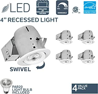 Nadair 3000K Warm White, 4 X PAR20 630 Lumens Bulbs Included, IC Rated CP378L-PR4WH 4 Pack 4in LED Swivel Dimmable Recessed Downlight