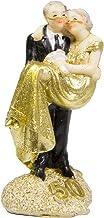 Figura de pareja de novios para boda, 50 años, color dorado