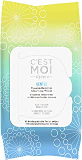 C'est Moi Gentle Makeup Remover Cleansing Wipes | Organic Aloe, Glycerin, Green Tea and Cucumber Extract Biodegradable Facial Wipes, Fragrance Free, Gentle Cleanser, 30 Biodegradable Wipes