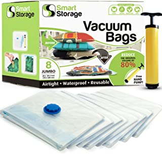 Smart Storage 8 Pack Jumbo Vacuum Storage Space Saver Bag Set | Vacuum Storage Bags with Travel Hand Pump | Reusable Space Saver Bags for Home & Travel (28 x 39.5 inch)