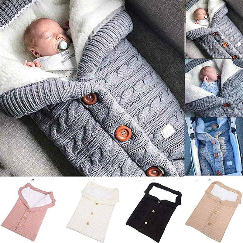 Logistt Baby Swaddle Button Blankets Toddler Soft Cotton Sleeping Bag Sack Stroller Wrap Knitted Blanket 15 7x26 8inch