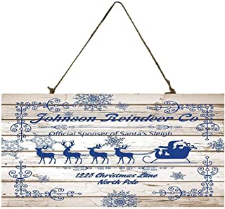 Blue and White Reindeer Co Christmas Custom Wood Signs Design Hanging Gift Decor for Home Coffee House Bar 5 x 10 Inch