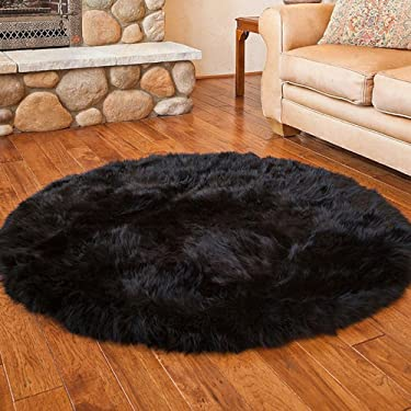 Pinkday Faux Sheepskin Area Rug Home Rugs Jungle Sheep Skin Rug Fluffy Rug Heavy and Thick Wool Round Rug 3 Feet Diameter (Black)