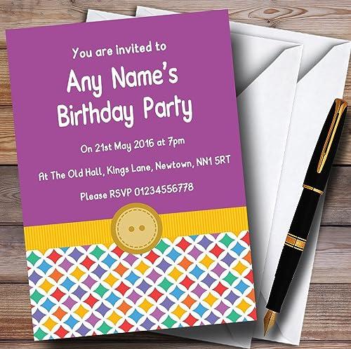 suministro de productos de calidad Colors del arco arco arco iris botón morado Niños invitaciones de la fiesta  autentico en linea