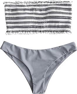 f554ae91f4695 ZAFUL Women s Striped Smocked Bandeau Top Two Piece Bikini Set Strapless Shirred  Swimsuits Swimwear