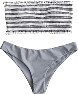 Women's Striped Smocked Bandeau Top Strapless Two Piece Shirred Bikini Set Swimsuit Bathing Suits