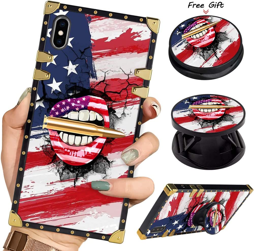 Luxury Square Phone Case iPhone Xs Max Retro Elegant Soft TPU Design Cover for iPhone Xs Max 6.5 inch 2018 (American Flag Lips Bullet)