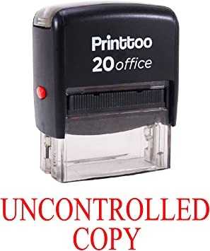 Black Ink UNCONTROLLED COPY Self Inking Rubber Stamp Large