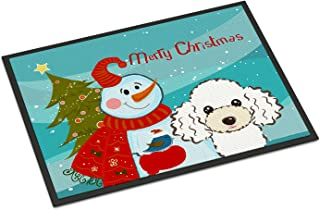Caroline's Treasures BB1877MAT Snowman with White Poodle Indoor or Outdoor Mat 18x27, 18H X 27W, Multicolor