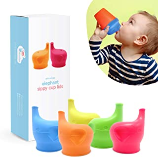 Silicone Sippy Cup Lids (5 Pack) - Elephant Silicone Spout Makes Cup into Spill-Proof Sippy Cup for Babies and Toddlers
