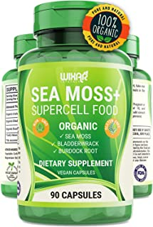 Wixar Organic Sea Moss Plus - Natural Irish Sea Moss and Bladderwrack with Burdock Pills - 90 Capsules - Vegan Non-GMO - Thyroid, Healthy Skin, Keto Detox, Gut, Joint Support Alkaline Supplements