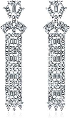 Asiatico Deco Stile Sposa Cubico Zirconia CZ Colonna Lineare Prom Concorso Dichiarazione Lampadario Orecchini Argento Placcato Ottone