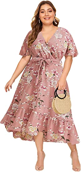 pink medium long plus size dress amazon