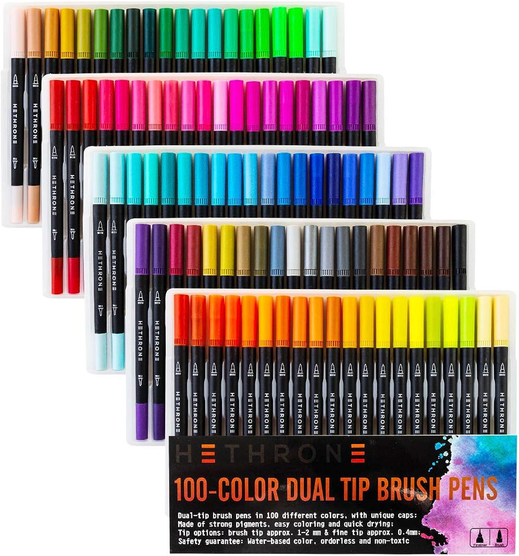Hethrone 100-Farben Doppelspitzen-Feder-Pinselstifte mit Feinliner-Spitze 0.4 PA37 B01IJB8X32     | Erste in seiner Klasse