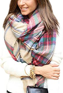 Dora Bridal Lady Women Blanket Oversized Tartan Scarf Wrap Shawl Plaid Cozy Checked Pashmina