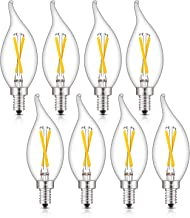 CRLight 2W 4000K LED Candelabra Bulb Daylight White Glow, 30W Equivalent 300 Lumens, E12 Base Dimmable LED Chandelier Light Bulbs, Antique CA11 Clear Glass Candle Flame Shape, Pack of 8