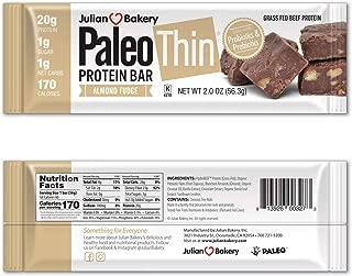 Paleo Thin® 20g Protein Bars (Almond Fudge)(Grass-Fed Beef)(1 Net Carb)(1g Sugar) (12 Bars)