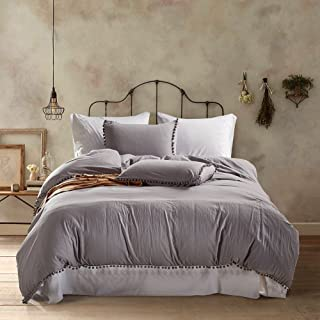 AiMay Pom Poms 3 Piece Duvet Cover Set (1 Duvet Cover + 2 Pillow Shams) Stone-Washed Brushed Luxury 100% Super Soft Microfiber Bedding Collection (Queen, Light Gray)