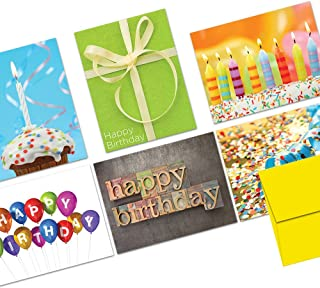 Happy Birthday Card Set Assortment – 144 Pack – It's Your Birthday – 6 Unique Designs – Yellow ENVELOPES INCLUDED – BulkGreeting Cards – Glossy Cover, Blank Inside – By Note Card Café