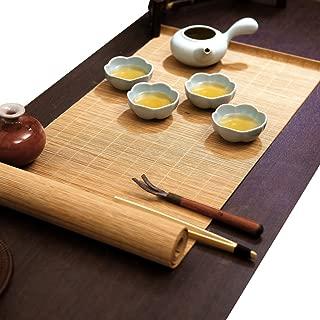 YOY Tea Ceremony - Kung Fu Tea Set Mat Natural Bamboo Tablemat Slat Handmade Bamboo Sticks Decor Placemat Tea Table Runner 12 by 59-Inch, Natural