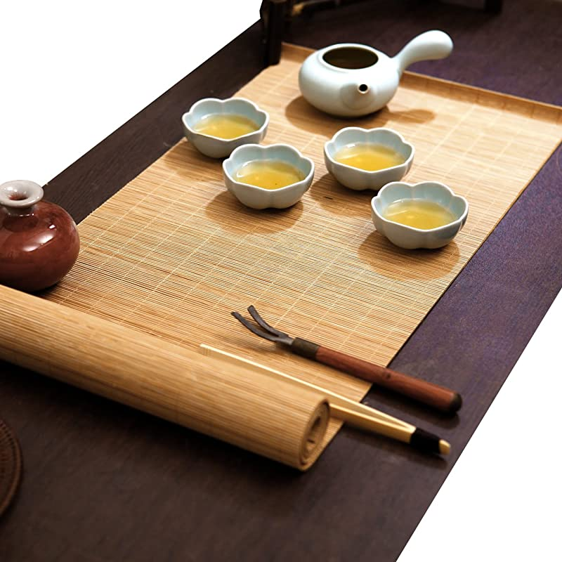 YOY Tea Ceremony Kung Fu Tea Set Mat Natural Bamboo Tablemat Slat Handmade Bamboo Sticks Decor Placemat Tea Table Runner 12 By 47 Inch Natural