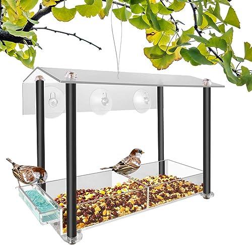 NIUXX Mangeoire D'Oiseau de Fenêtre avec des Tasses D'Aspiration, Mangeoire Suspendue D'Oiseau D'Arbre avec évier Pot...