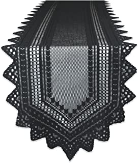 DII 100% Polyester, Machine Washable, Crochet/Lace Table Runner, 14x72, Black
