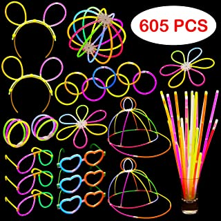 Dragon Too Glow in The Dark Party Supplies - 605 Pieces - Includes Connectors to Create Necklaces, Bracelets, Glasses, Hea...